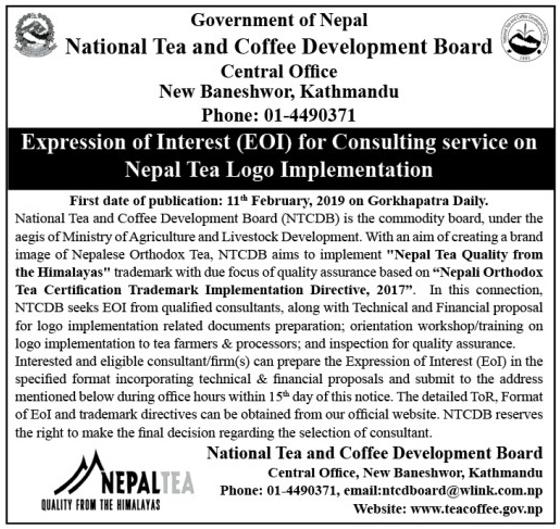Expression of Interest (EOI) for Consulting service on  Nepal Tea Logo Implementation