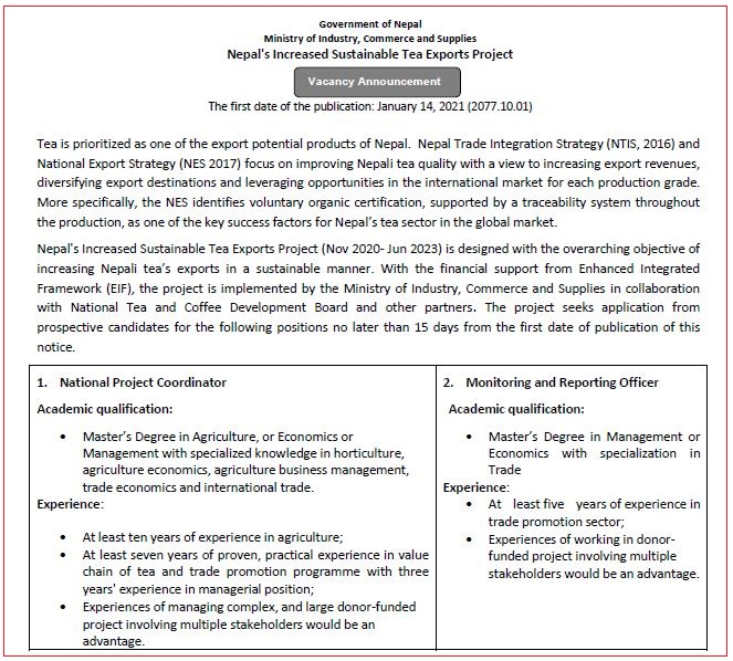 Nepal's Increased Sustainable Tea Exports Project Vacancy Announcement